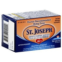 St. Joseph Safety Coated Aspirin, 81 mg., 36 ct.