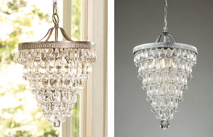 Knockout knockoffs horchow chandelier pottery barn chandelier and another glamorous lighting option is a cone shaped chandelier with cascading crystal droplets pottery barns clarissa chandelier is beautiful but expensive mozeypictures Choice Image