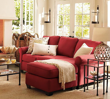Knockout knockoffs pottery barn buchanan living room for Rug color for red couch