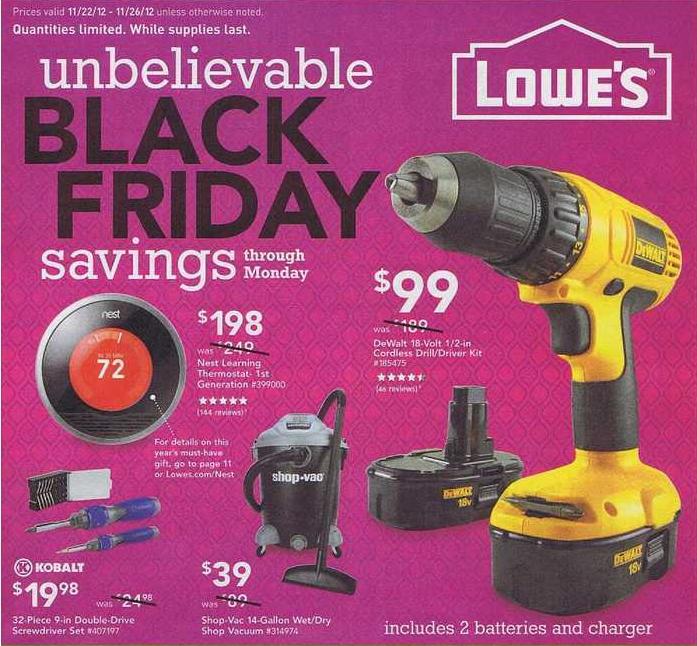 Lowe's Black Friday Ad 2012