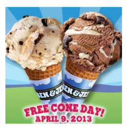 Free Ben & Jerry's Ice Cream Cone, 4/9 Only!