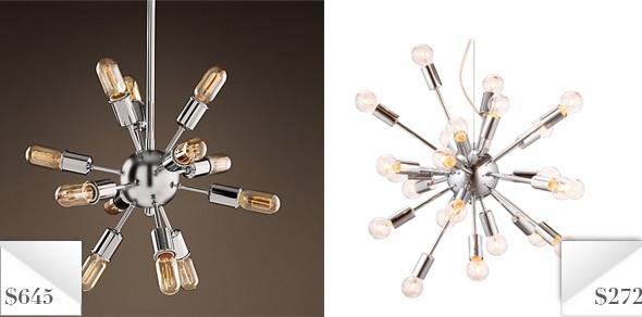 knockout knockoffs restoration hardware sputnik chandelier  the, Lighting ideas