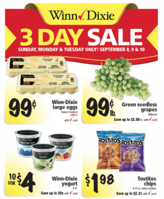 Winn Dixie 3 day sale