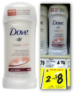 Dove Clear Tone Deodorant, Only $1.00 at BI-LO!