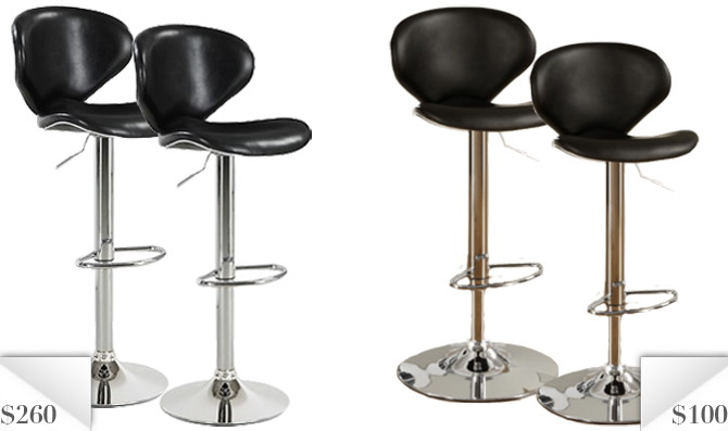 up first the home meridian kelsey barstool from bju0027s warehouse at this black faux leather and chrome stool comes with a curved back