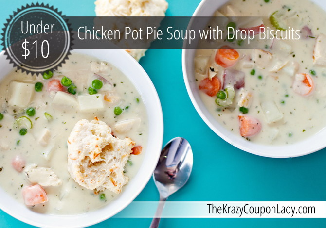 Chicken Pot Pie Soup and Parmesan Biscuits - Mom it Forward