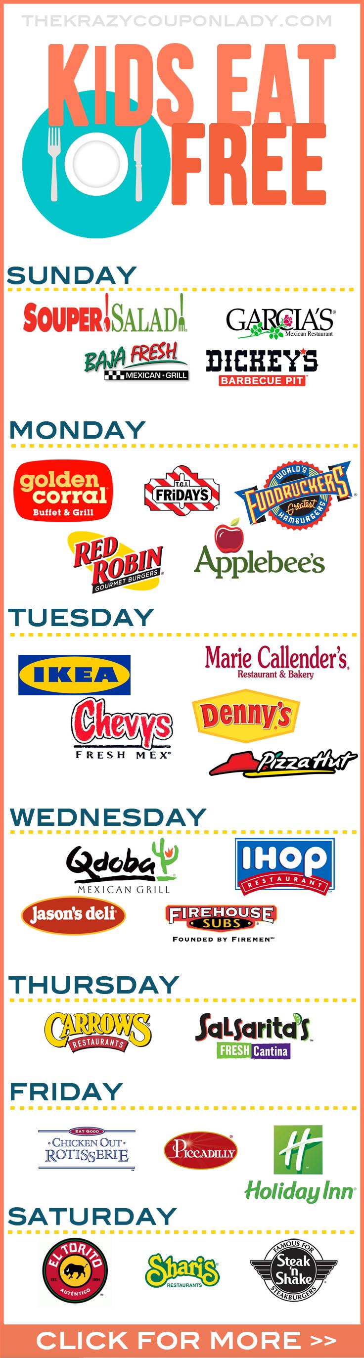 Super comprehensive list of restaurants where kids eat FREE!