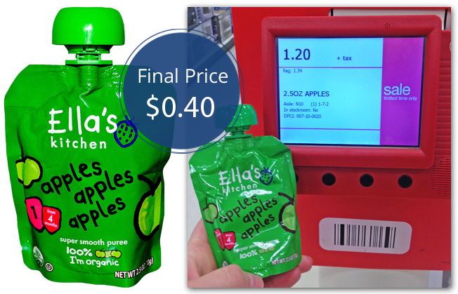 ella's kitchen baby food pouches, only $0.40 at target