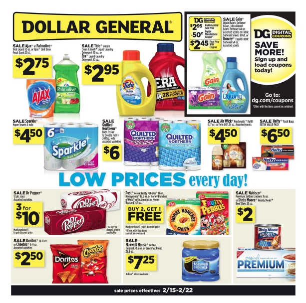 Dollar General Weekly Ad Circular. Get this week Dollar General Ad sale prices, digital coupons, current circular savings, grocery specials, and offers. Dollar General is a chain of discount stores that stock a big selection of items ranging from cleaning supplies, beauty, skin and body care to foods and household products.