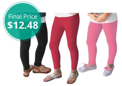 3-Pack Girls' Fleece-Lined Warm Leggings, Just $4.16 Each!