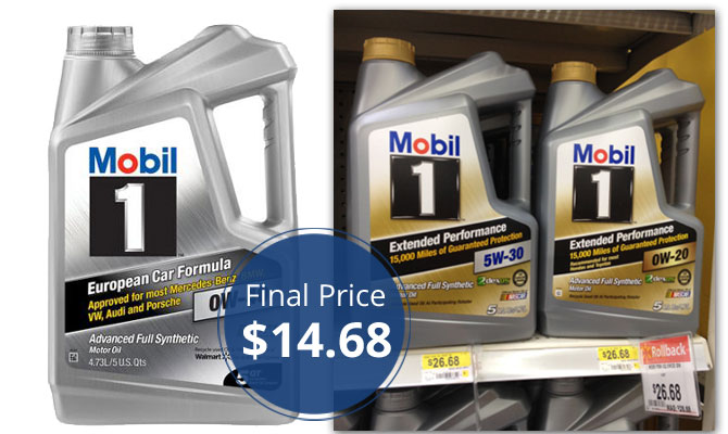 Mobil 1 5 Quart Motor Oil Only At Walmart