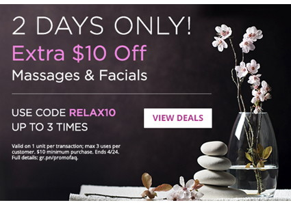 Mother's Day Gift Idea–Extra $10 Off Facials & Massages!