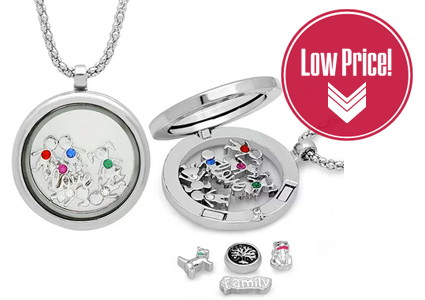 Locket with Charms & Swarovski Elements, Only $16.00!