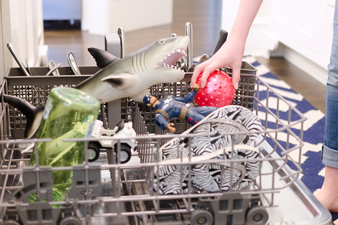 Clean and disinfect toys, brushes, and flip flops in the dishwasher.