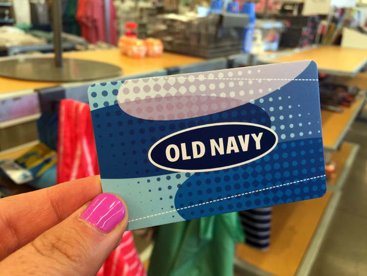 Old Navy's Rewards Program is paired with their credit card. When you shop with your store credit card, you'll earn five points per dollar. Once you reach 1, points, you'll receive a $10 rewards card!