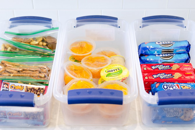 organize your pantry with a school lunch prep station