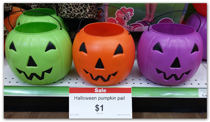 while shopping for costumes i found these colorful halloween pumpkin pails on sale for only 100regularly 199 - Halloween Toys R Us