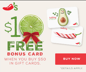 Free $10 Chili's Gift Card with $50 Purchase! - The Krazy Coupon Lady