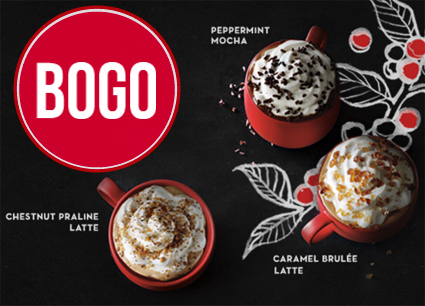 BOGO Holiday Beverages at Starbucks!