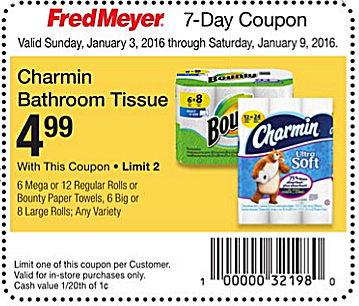 Charmin Mega Roll Toilet Paper  Only  3 49 at Fred Meyer    The Krazy Coupon Lady. Charmin Mega Roll Toilet Paper  Only  3 49 at Fred Meyer    The