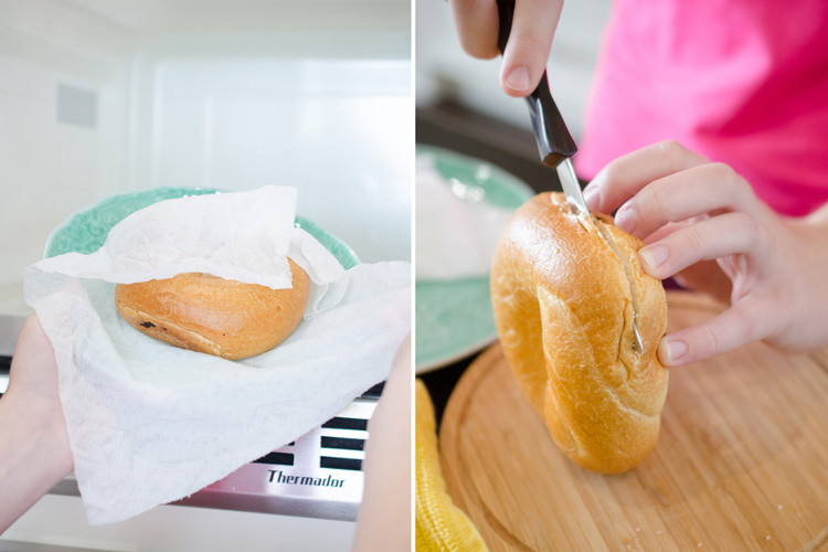Microwave stale or day-old bagels for 20 seconds to make them edible again.
