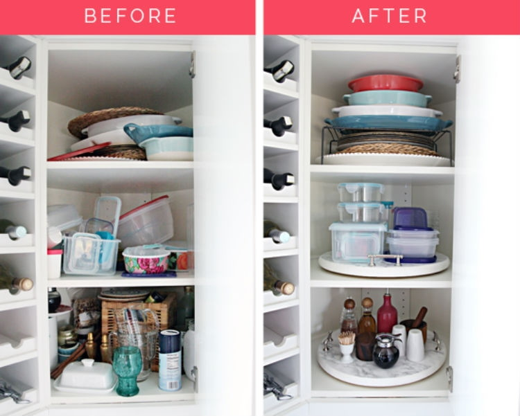 Use A Lazy Susan To Hold Cooking Essentials And Tupperware. Via Iheart  Organizing