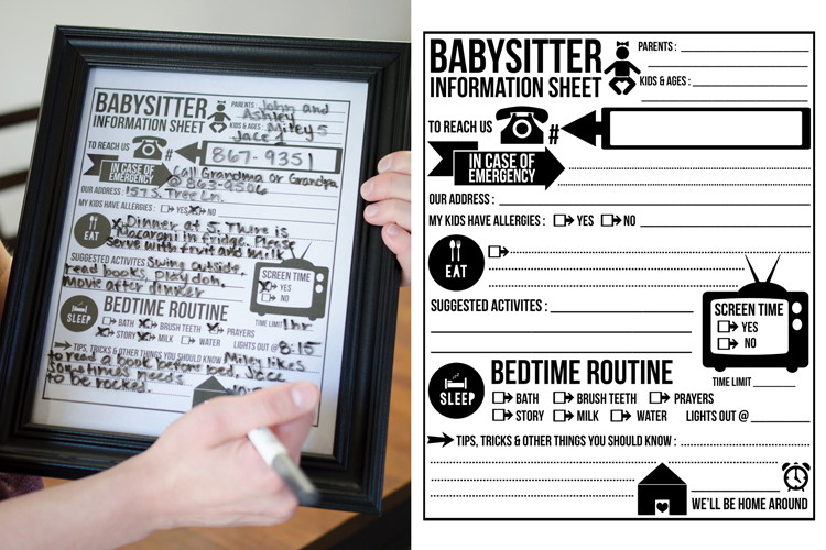 Make sure your babysitter always has instructions and emergency contact info with this free template.