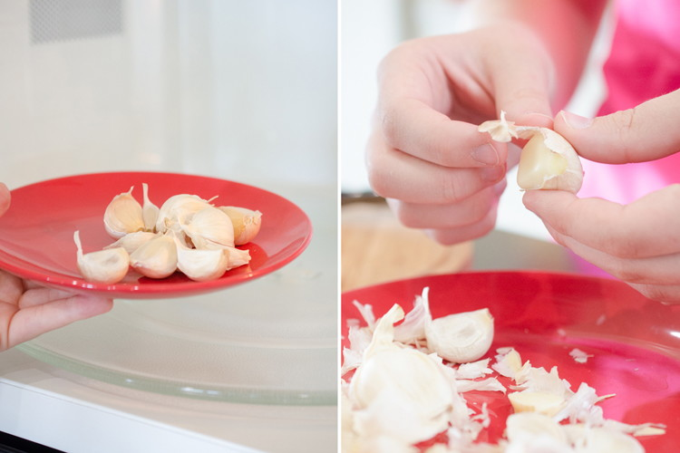 Microwave garlic for 15 seconds to easily remove skin.