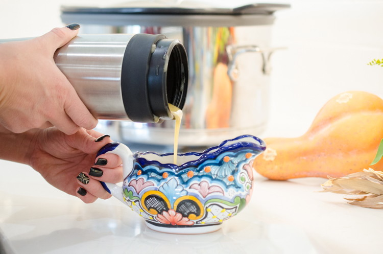 Use a thermos as a gravy warmer to free up space on the stove.