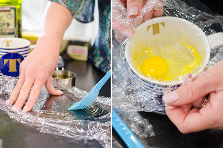 Perfectly poach an egg with a mug, plastic wrap, and olive oil.