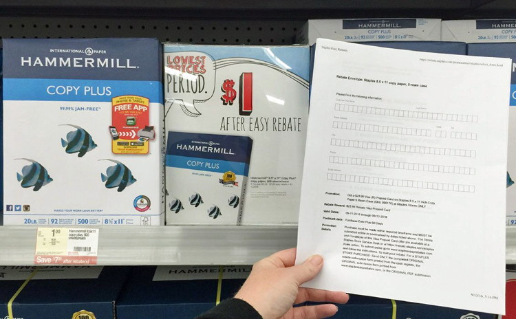 Get free or cheap copy paper with rebates at Staples.