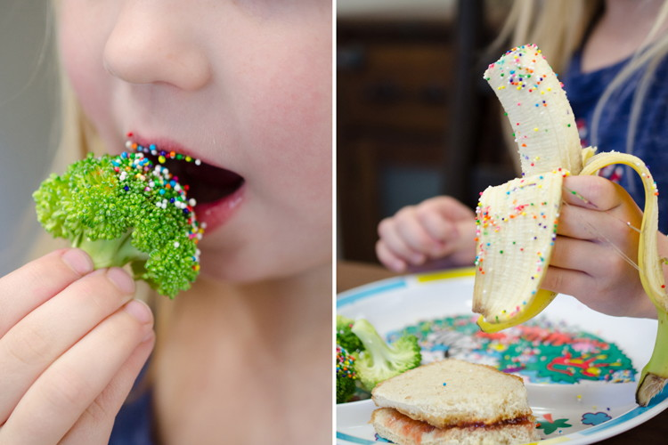 Get kids to love eating fruits and veggies with sprinkles.