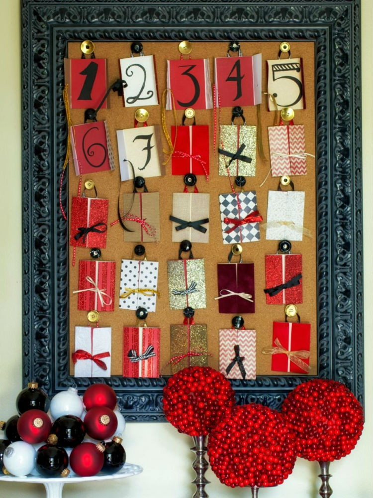 Use a cork board and festive cards to count down the days.