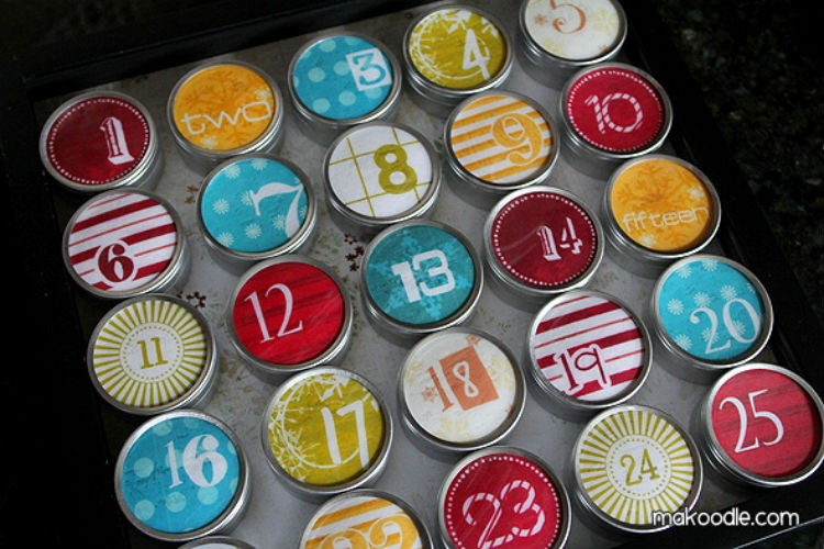 Build an advent calendar from magnetic tins.