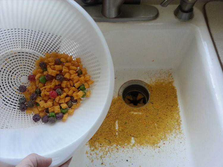Get rid of unwanted cereal crumbs with a strainer.