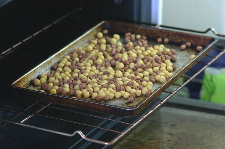 Revive stale cereal in the oven.