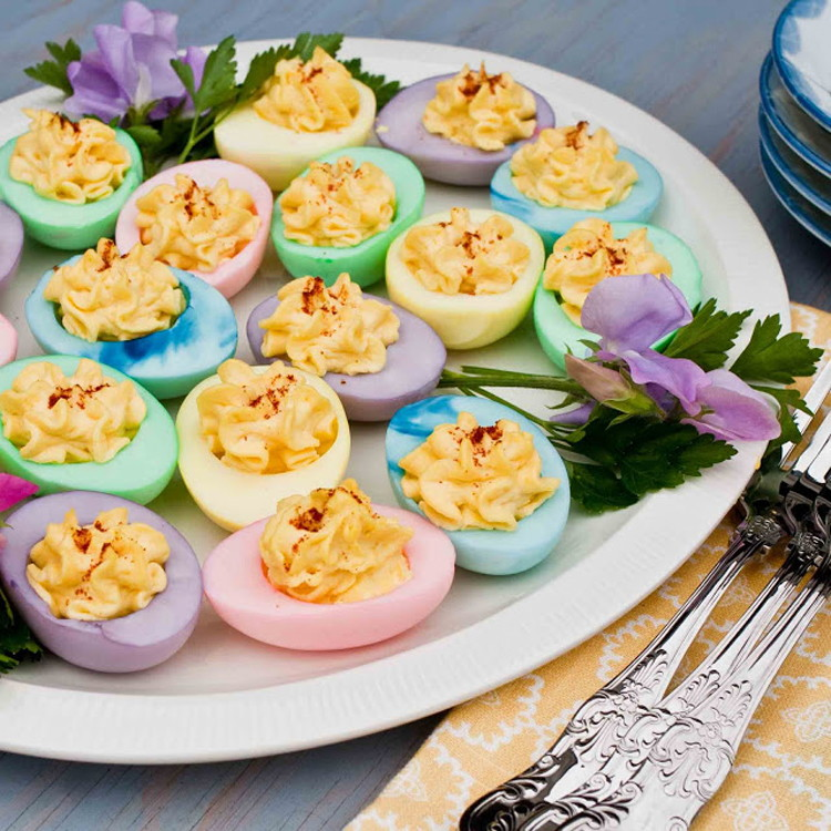 how to make coloured devilled eggs
