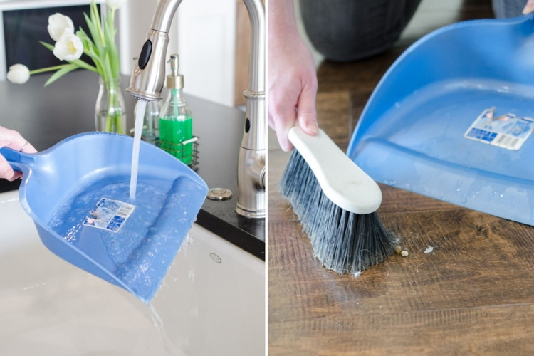 Keep dirt in a dustpan by running the pan under water first.
