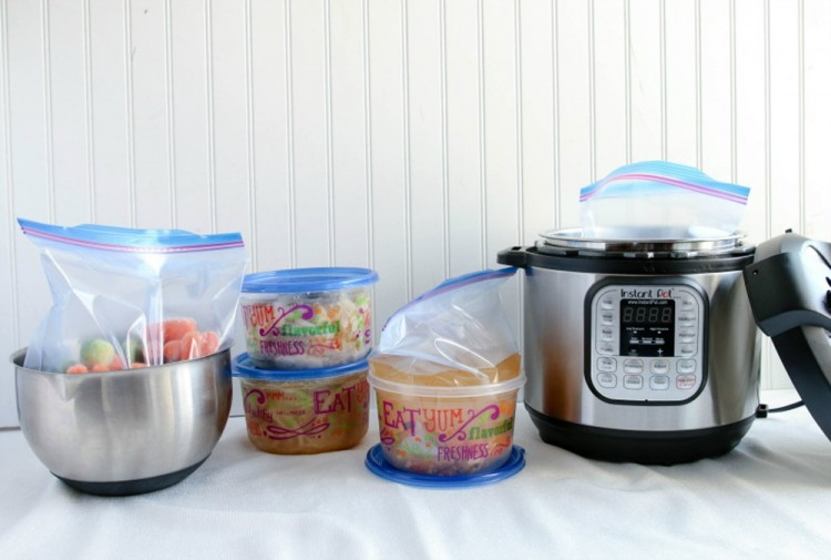 Freeze meals in round containers so they'll easily fit in your Instant Pot.