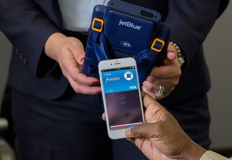 Use Apple Pay to make in-flight purchases.