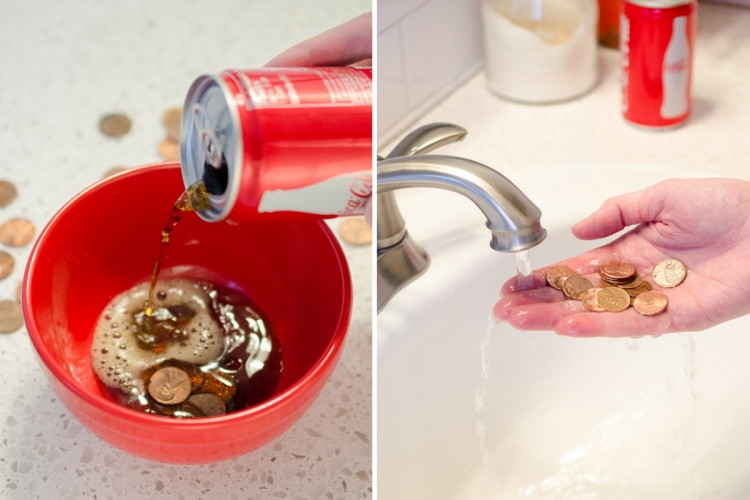 Remove tarnish from old pennies.