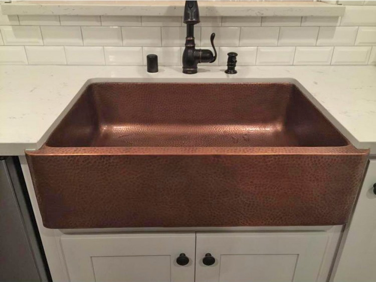 Farmhouse Hammered Copper Apron Sink, Only $479.00 At Home Depot  Reg.  $645.99!