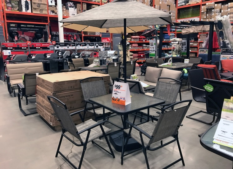 Snag The Hampton Bay 7 Pc. Patio Dining Set For $99.00! The Set Includes  Four Folding Chairs, A Table, Umbrella And Base. The Fabric Is UV Resistant  To ...