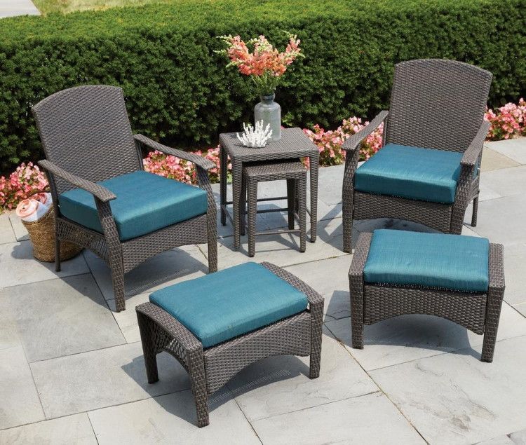Buy 1 Hampton Bay Placerville Brown 6 Pc. Wicker Patio Conversation Set  With Turquoise Cushion ( Reg $499.00 ) $349.30, Sale Price Through 5/31