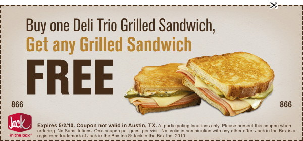 image regarding Jack in the Box Printable Coupons identified as Jack Within the Box Printable B1G1 Totally free Coupon - The Krazy