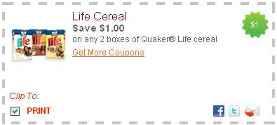 image about Printable Cereal Coupons named Contemporary Printable Discount coupons: Existence Cereal, Quaker +far more! - The
