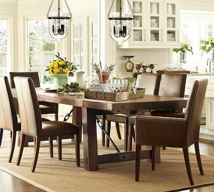 This Featured Inspiration Room By Pottery Barn Features A Rustic Wood And  Iron Dining Table, Classic Leather Parsonu0027s Chairs And A Unique Glass Light  ...