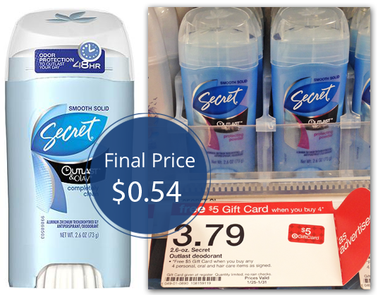 Secret Deodorant, Only $0 54 at Target! - The Krazy Coupon Lady