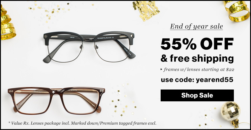 Eyeglasses Only $22–55% Off.