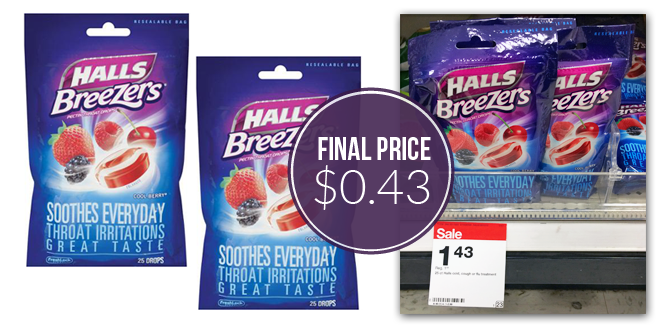 Halls Breezers - 43¢ at Targe...